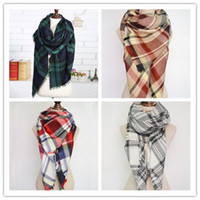 Wholesale Women Scarf fashion Plaid Warm Soft Blanket Scarf Oversized Tartan Shawl Cozy Checked Pashmina colorful Winter Scarves Wraps cm