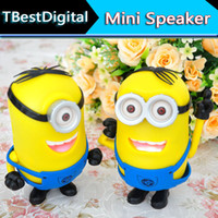 Wholesale DHL Cartoon Small Yellow Person Despicable me Mini Minions speaker Loudspeaker Support SD TF card USB Disk for iphone tablet