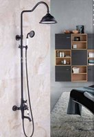Wholesale Wall Mounted Oil Rubbed Bronze Shower Faucet Flower Pattern Base Bathtub Mixer