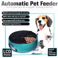 Wholesale 6 Meal LCD Digital Automatic Pet Feeder Meal Dispenser Bowls with Recorder White Build in LCD Digital Clock