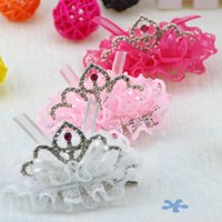 Wholesale Frozen Lace Crown Hair Clip Accessories Princess Barrettes for christmas gift Mix colors BA135