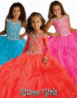 Wholesale Gorgeous Fuchsia Keyhole Back Ball Gown Floor length Layers Ruffle Organza Crystals Heavy Beaded Ritzee Girl s Pageant Dresses