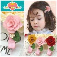 baby rib fabric - Fashion Baby Accessories Rib Fabric Flower Children Girls Jewelry Hair Clip