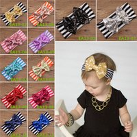 baby girl headbands and bows - New Arrivals Baby Girls Infant Kids HairBand Bow Stripe Headwear Accessories Cotton And Sequin12 Colors EA13