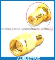 Wholesale 50pcs Gold Plated Copper RP SMA Jack to SMA Plug RF Coaxial Adapters