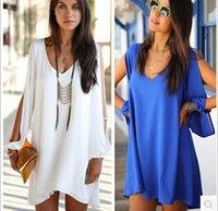 Wholesale Sexy ladies long sleeve v neck chiffon casual dress woman dress Size S XL