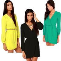 dresses uk - 2014 Fashion UK Size Women Casual Chiffon Long Sleeve Clubwear Party Dress