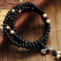 bracelets en bois naturel achat en gros de-Fashion Natural Ebony 6mm Black Wood Beads 108 Buddha Bracelets Hommes / Femmes Long Bangle Religion Cadeau Vente en gros Tibet Jewellery