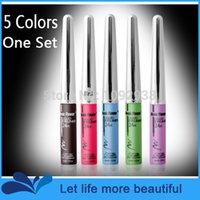 Cheap Wholesale-New Liquid Eye Liner Water Proof Makeup Eyeliner Pen for Eyes (Ink Coffee+Black+Blue+ Green+Purple) 5 colors set free ship