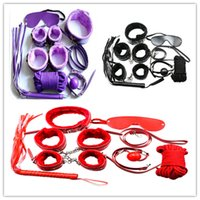 Wholesale 3 colors Kit Bondage Set Whip Ball Handcuffs Footcuffs Rope Neck Collar Mask
