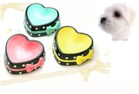 ceramic dog bowl - Cute Hot Pink Blue Yellow Non slip Lovely Heart shape Pet Bowl for Dog Cat Made of Ceramic Elegant and Noble