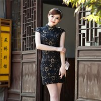 Wholesale Autumn and Spring fashion elegant black chinese dress sexy lace modified ladies slim short cheongsam dress temperament