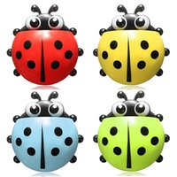 Wholesale Cute Ladybug Toothbrush Wall Suction Holder Cartoon Sucker Hook Household Bathroom Hanger Colors