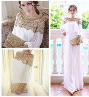Cheap 2014 new fashion luxury heavy beaded chiffon fancy dubai women kaftan abaya evening dress elegant long brand prom dress