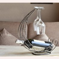 decorative glass wine bottle - Art Decorative Bar Drink Supply Iron Handcraft Wine Rack Euro Vintage Wine Holder Bottle Stands Glass Hanger order lt no track