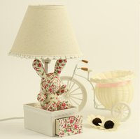 bedside drawers - Floral fabric pastoral style cartoon rabbit lamp children s room bedroom bedside lamp mini cartoon lace drawer lamp night light reading l