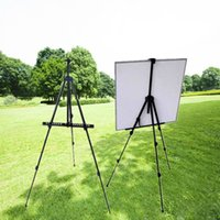 aluminium alloy folding easel - New Excellent Quality Black Outdoors Aluminium Alloy Folding Painting Easel Frame Adjustable Tripod Display Shelf Carry Bag