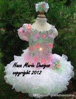 cupcake charm - Charming Little Girls Cupcake Glitz Pageant Dresses Shining Rhinestone Flowers Organza pageant dress
