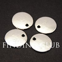 Wholesale Antique Silver Metal Blank Stamping Tags Pendants Round for Necklaces Bracelets Findings mm A809