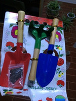 Wholesale Gardening Tool Set color tools rake shovel spade three piece fitted with light wooden toys for children to do