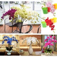 dried flowers - New Artificial Silk Butterfly Orchid Flowers Stem Party Home Tabletop Desk White Yellow Pink Blue Plant For Wedding