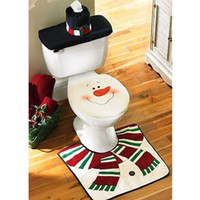 bathroom decor set - New Style The Santa Claus Decors Toilet Seat Cover Ground Mat Rug Handkerchief Case Bathroom Set Christmas Decoration H15978