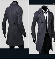 Wholesale Fall autumn outfit new men s fashion cultivate one s morality double coat lapels long double breasted coat coat