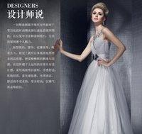 banquet service - Light grey dress sexy shoulder waist slim word long evening dresses will host new year Banquet Service Dress