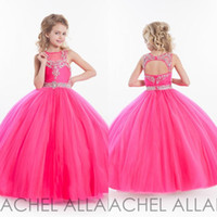 Wholesale Girls Pageant Dresses Little For Girls Gowns Toddler Pink Kids Ball Gown Floor Length Glitz Flower Girl Dress For Weddings Beaded