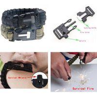Wholesale Outdoor in Travel kit Survival Flint Fire starter paracor Whistle Gear Buckle rescue rope Bracelet