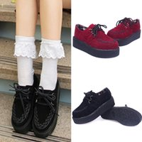 creepers - Vintage Women s Harajuku Lace Up Platform Shoes British Style Creepers Flatform Black Red TZ0085