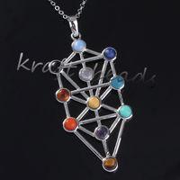 amethyst tree - Charm Silver Plated Mix Kabbalah Tree Of Life Gemstone Beads Chakra Healing Point Stone Pendant Jewelry Fit Necklace