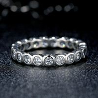 Wholesale Alluring Brilliant Pandora Style Large Round Eternity Silver Ring with Cubic Zirconia Promise Engagement Rings for Women R036