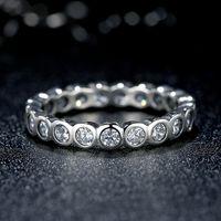 Seductor brillante estilo Pandora redonda grande del anillo de plata con circonio cúbico Eternidad Promise anillos de compromiso para las mujeres R036