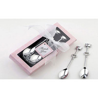 Wholesale Hot sale Love Heart Spoons Coffee Spoon Wedding Favor Guest Gift in box