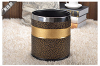 stainless steel trash bin - 10L round double layer metal leather trash garbage waste rubbish bin can storage bucket dustbin for home office A