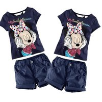 Cheap Baby Kids Boys Girls Clothing Minnie Mouse T-Shirt Shorts Outfit Set 1-6Year