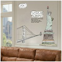 art statue - Statue of Liberty Golden Gate Bridge Wall Decal Removable Art Decoration Sticker Western Home Decor adesivos decorativos H14972