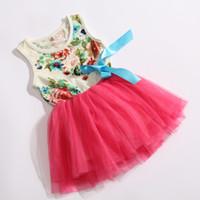 Wholesale 2015 girl tutu dress baby clothing flowers kids cotton lace dress Children Skirt Child Floral girls dress Cute Sweet