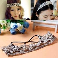 aqua beads wholesale - Fashion Womens Lady Lace Pearl Beads Headhand Hairband Elastic Hair Head Band