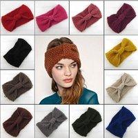 Wholesale Crochet Bows Wholesale - Women Knitted Bow Headband Crochet Hairband Winter Ear Warmer Headwrap Hair Accessories 130mm