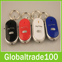 Wholesale Mini Colorful LED Light Lost Key Finder Whistle Sound Control Alarm Keychain Locator Tracker Free DHL Shipping