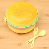bento boxes - Cute Hamburger Shape Lunchbox Layer Plastic Bento Box Fork Spoon Lunch Box For Kids Wonderful Gift JH0037 Salebags