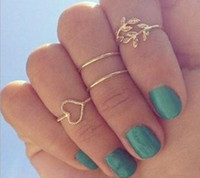 Band Rings punk - 4pcs Fashion Punk Style Knuckle Ring Metal Gold Silver Plated Leaf Above Knuckle Hollow Out Leaves Band Mid Finger Joint Ring Set a841