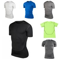 baseball compression shirts - Hot Men s Compression Base Layer Gear Tights Bodybuilding GYM Basketball Baseball Jersey Short Sleeve Sports Shirts