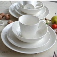 Wholesale China White Ceramic Porcelain Steak Plate Salad Bowls Dessert Dish Dinner Service Sets of Dinnerware Tableware