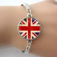 band jack white - Union Jack British Flag Bracelet Glass Dome Bangle Silver Plated Metal Wrist band Faith Jewelry For Gifts A006