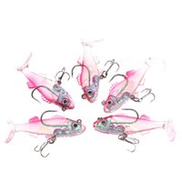 Wholesale 5Pcs cm g High Quality Soft Fishing Lures T Tail Lead Fish Lure Soft Bait with Hooks Pesca Tackle Tool Y0740