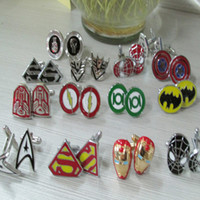 Wholesale 1 Pair Classic Mens Cufflinks Cool Superhero Spideman Novetly Jewelry Shirt Cuff Links For Wedding