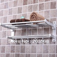 Wholesale E79 Foldable Alumimum Towel Bar Set Rack Tower Holder Hanger Bathroom Hotel Shelf